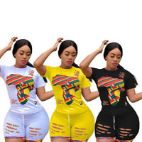 NEW Women's Stylish Short Sleeves Colorful Print Burnout Bodycon Jumpsuit 2pcs