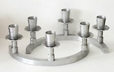 VINTAGE HAMMERED ALUMINUM Circular 3 CANDLE HOLDERS Candleholders Candlesticks