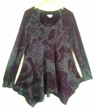 Soft Surroundings sweater top size Large purple stretchy floral long poncho hem