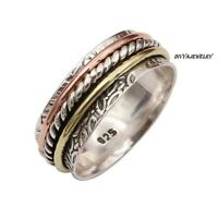 925 Sterling Silver Spinner Ring Wide Band Meditation Statement Jewelry Rm 26