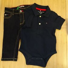 TOMMY HILFIGER BABY GROW POLO SHIRT DENIM JEANS BLUE NAVY 6-9 MONTHS BOYS #1