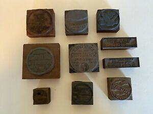 10 VINTAGE PRINTERS BLOCKS FOR FLY FISHING LINE AND CONVENTIONAL FISHING LINE