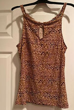 Chaps Super Sexy Brown/White Geo Print Sleeveless Keyhole Neckline Knit Top M