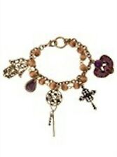 NWT Guess Gold-tone Metal-Purple Rhinestones 'Its a Small World' Charm Bracelet