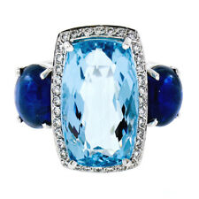CUSTOM 14k White Gold 12.82ctw GIA Aquamarine & Sapphire Diamond 3 Stone Ring