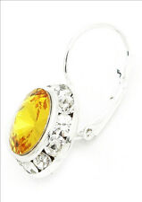 SWAROVSK ® ELEMENTS-12MM -SUNFLOWER YELLOW- SILVER PLATED LEVERBACK EARRINGS