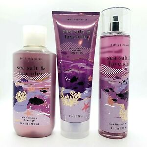 Bath & Body Works Sea Salt & Lavender Body Cream Shower Gel Fragrance Mist Set