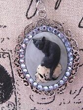 #JR51915  fancy ALTERED ART BLACK CAT Cameo Necklace SKULL MORBID Black GOTHIC