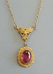 """Antique Victorian 10k Yellow Gold Ruby Lavalier Pendant & Necklace 1.7g 14.5"""""""