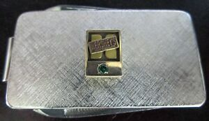 Sterling Silver 14K Gold Genuine Emerald Hershey's Chocolate Bar Money Clip Tool