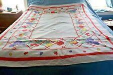 "vintage white cotton tablecloth w bright fruits on edges 50"" x 66"""