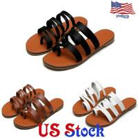 Women's Toe Ring Sandals Flat Looped Slippers Slip On Comfort Casual Shoes US