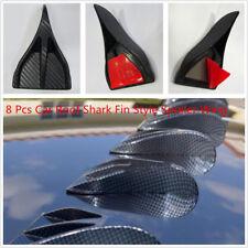 8 Pcs Black Carbon Fiber Style Car Roof Vortex Generator Shark Fin Spoiler Wings