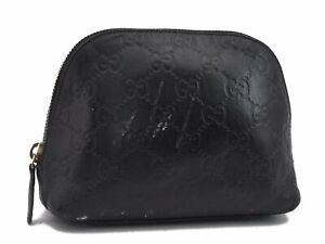 Authentic GUCCI Guccissima GG Leather Pouch 141810 Black D7926