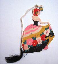Vintage Art Deco Bridge Tally w/ Pretty Red Head Woman Dancing with Rose   *