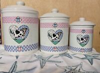 Tabletops Unlimited BUTTERMILK set of 3 cookie jars/canisters, vintage canisters