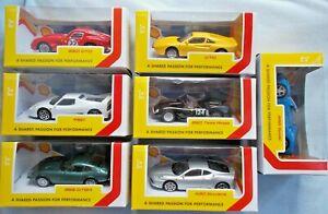 Full Set 7 pcs Burago Shell & Ferrari Collection 1/43 Cars BOX&SEALED BBURAGO