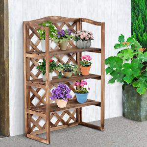 3-Tier Wooden Flower Stand Plant Holder Shelf Display Rack Outdoor