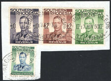 Southern Rhodesia Revenue 1937 £10, £2, 10s &5s used on piece, Barefoot 20,22,24