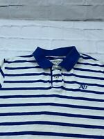 Aeropostale A87 Men's Size 2XL Striped Short Sleeves Collared Polo Shirt Blue
