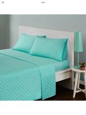 Mi Zone Seafoam Green & White Polka Dot Full Size Sheet Set-New