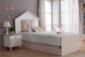 """Mädchenbett Kinderbett Mädchen """"Flamingo"""" 90x200 mit Kopfteil Weiß-Rosa"""