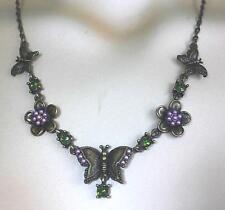 tolles Collier Kette bronzefarben Schmetterling Blüten Strass Perlen antik NEU