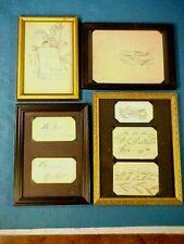 7 OLD FRAMED ANTIQUE SPENCERIAN CALLIGRAPHY PENMANSHIP NAME CARDS DRAWINGS 1886