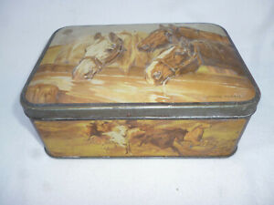VINTAGE PASCALL CLAREMONT TASMANIA TIN with EMBOSSED HORSES IMAGE - 17cm long