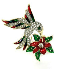 Vintage Humming Bird on flower Pin w/Sparkling Crystal