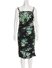 DOLCE & GABBANA Black Green Floral Printed Sleeveless Dress 36 XS 0 Ruched