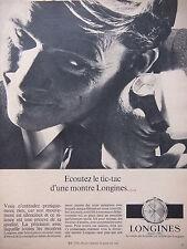 PUBLICITÉ DE PRESSE 1966 ÉCOUTEZ LE TIC-TAC D'UNE MONTRE LONGINES - ADVERTISING