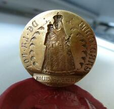 RARE Antique swiss seal wax stamp wood brass Notre Dame Bourguillon catholic