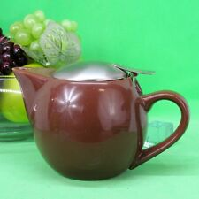 Brown earth-ware Sphere Shaped Personal Teapot by HuesNBrew built in tea infuser