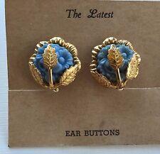 Vintage Earrings - Blue Screw-Back Earrings with Gold Trim (Ear Buttons)