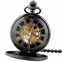 Retro Black Mechanical Pocket Watch Fob Chain Wind up Vintage Skeleton Antique