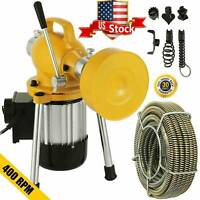 """3/4""""- 4""""Sectional Pipe Drain Auger Cleaner Machine Snake Sewer Clog 6Cutter"""