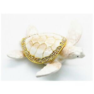 Bejeweled Enameled Animal Trinket Box/Figurine With Rhinestones-White Sea Turtle
