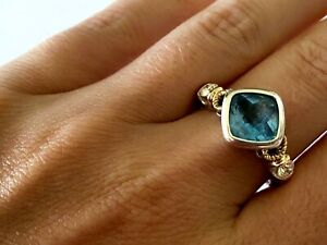 Checkerboard Blue Topaz Ladies Ring 2 Natural Round Diamond 14K Gold Size 7.5