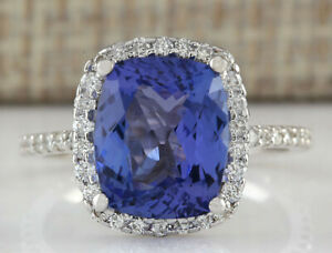 4.40 Carat Natural Tanzanite 14K Solid White Gold Luxury Diamond Ring