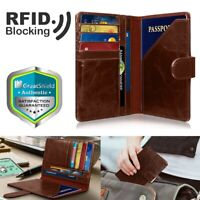 Travel RFID Blocking PU Leather US Passport Case Card ID Holder Wallet Cover