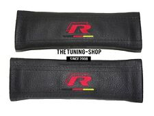 """2x Seat Belt Covers Pads Black Leather """"R-line"""" Red Embroidery For Volkswagen"""