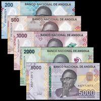 Set 5 PCS, Angola 200 - 5000 Kwanzas, 2020, P-New, Prefix A, Banknotes, UNC