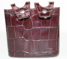 ASPINAL OF LONDON Mens Double 6Oz Burgundy Red Croc Suede Hip Flask Pouch Only