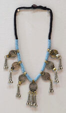 """Necklace Middle East Blue Beaded Silver Kuchi Coin Necklace 30"""""""