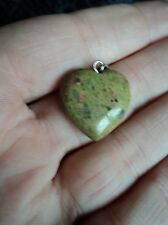 Pretty modern green jasper small heart shaped pendant
