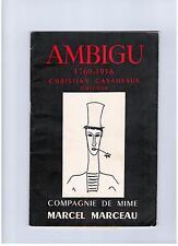 PROGRAMME - COMPAGNIE DE MIME MARCEL MARCEAU (1956) THEATRE AMBIGU / CASADESUS
