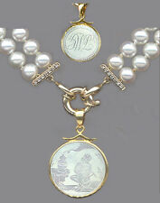 14k Small Round Figure Scene Pendant ANTIQUE CHINESE MOTHER O'PEARL GAME COUNTER