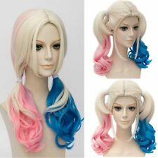 Suicide Squad Harley Quinn Wig Gradient Hair Blue Pink Fancy Cosplay Party Wigs