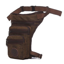 Mens Canvas Multi-pocket Waist Bag Light Hiking Leg Bag Pocket Travel Fanny Pack
